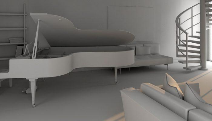 Modellazione 3d del progetto di design d'interni